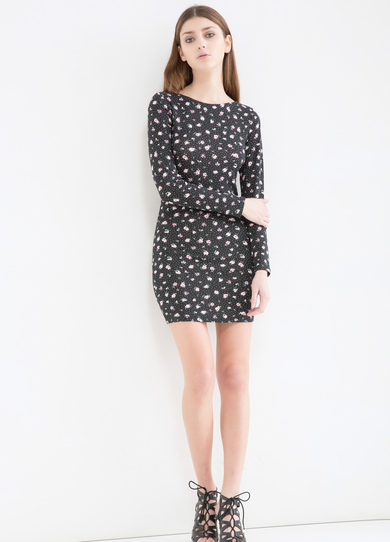 Short patterned dress in stretch cotton image number null