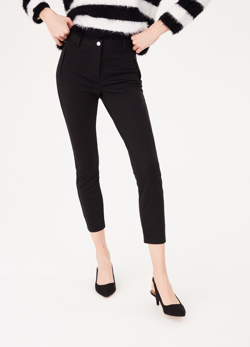 Stretch leggings with button and side zips image number null
