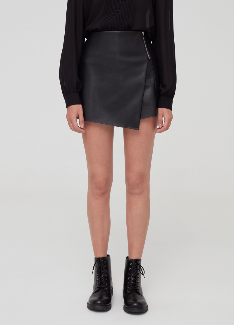 Leather-effect mini culottes image number null