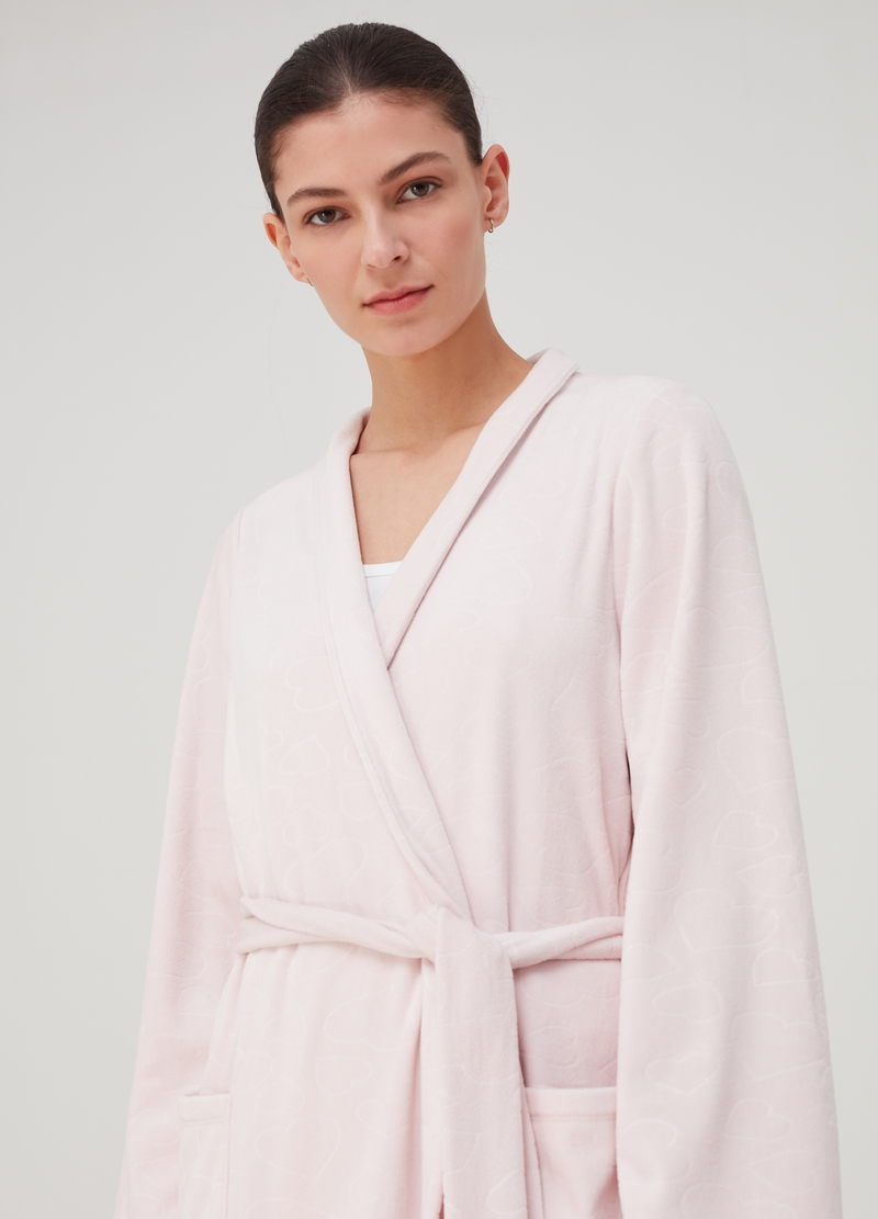 Solid colour dressing gown with belt image number null