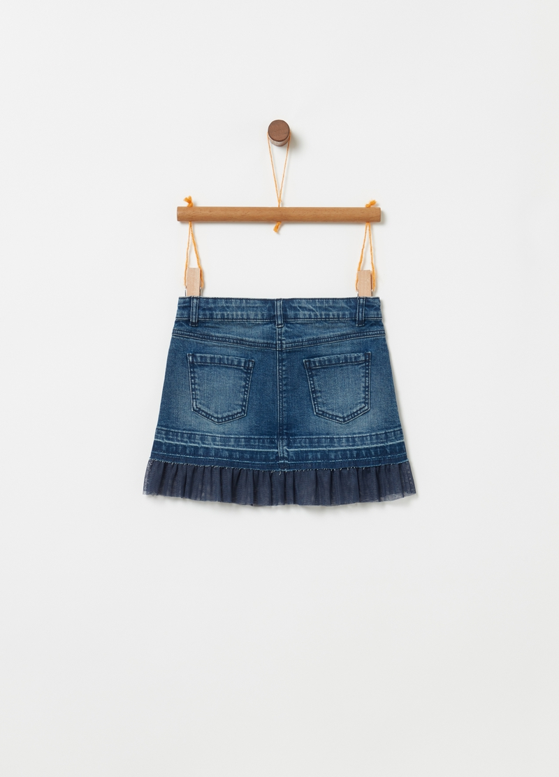 Gonna in denim stretch inserto in tulle image number null