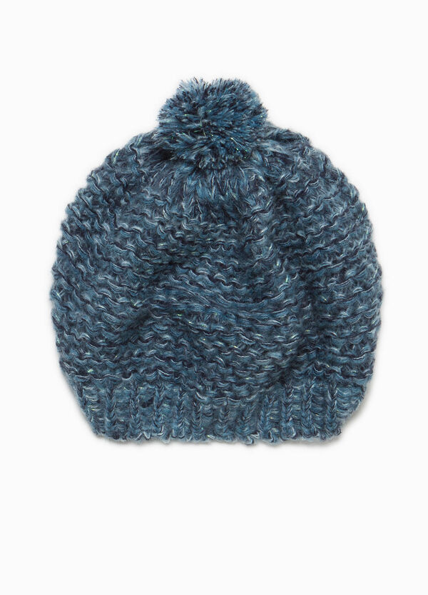 Knit beanie cap with pompom