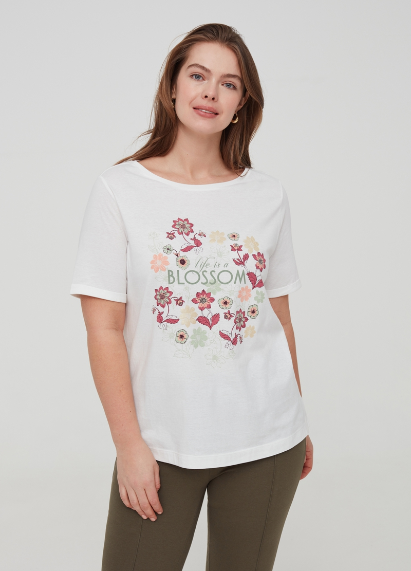 Curvy 100% organic cotton T-shirt with print image number null