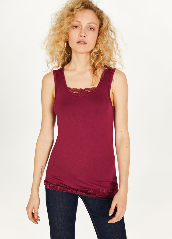 Stretch viscose top with lace