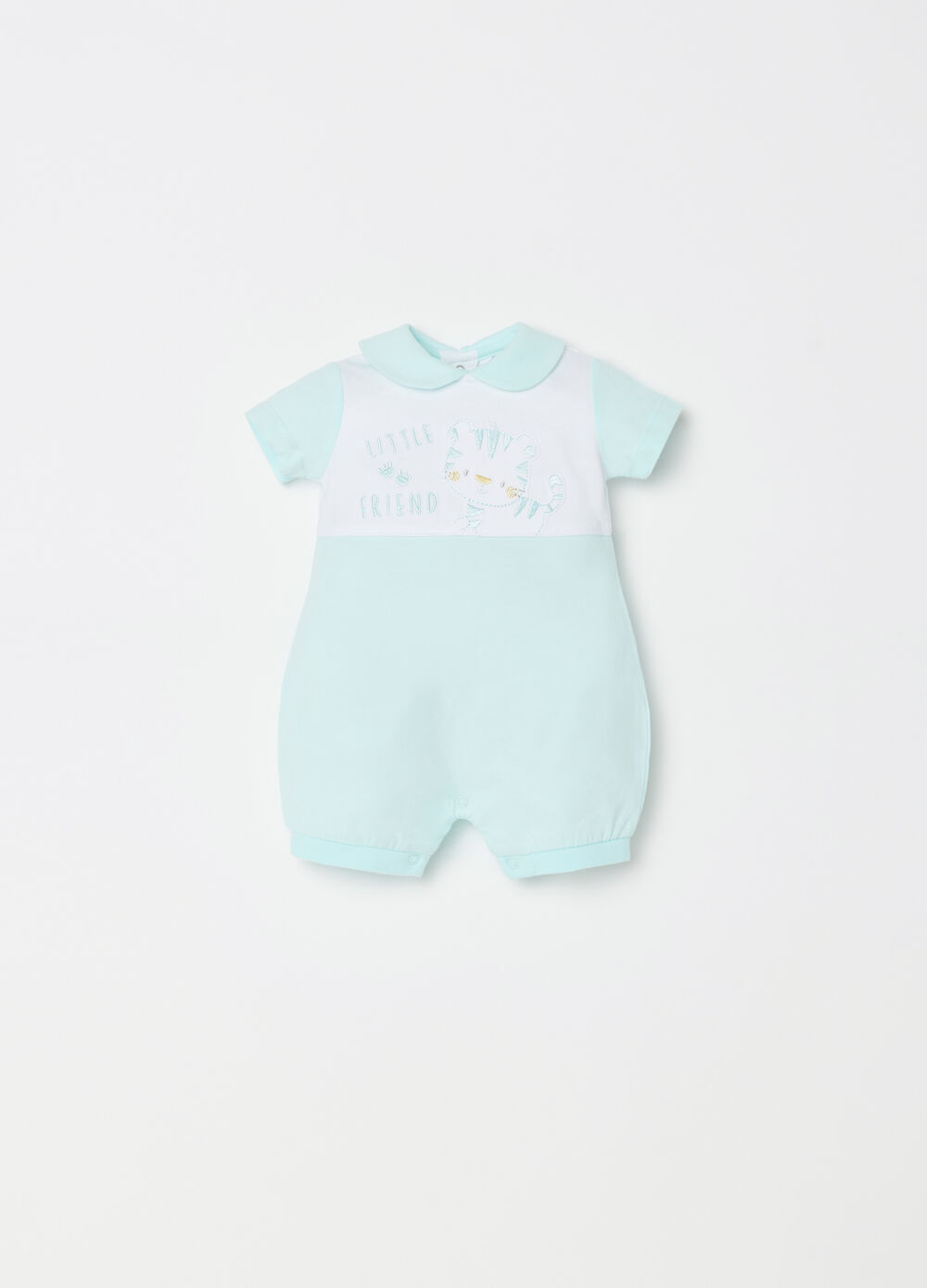 Short BCI onesie with kitten and embroidery