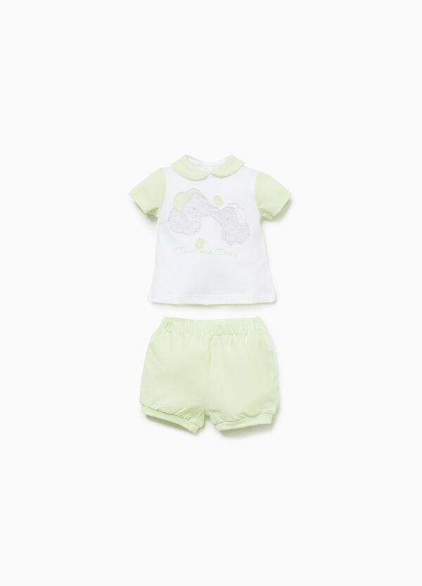Cotton outfit with elephant patches