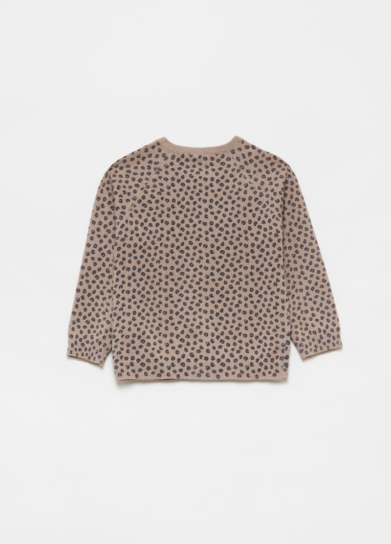 Cardigan con cotone bio stampa animalier all-over image number null