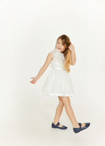 Dress with textured fabric and satin inserts