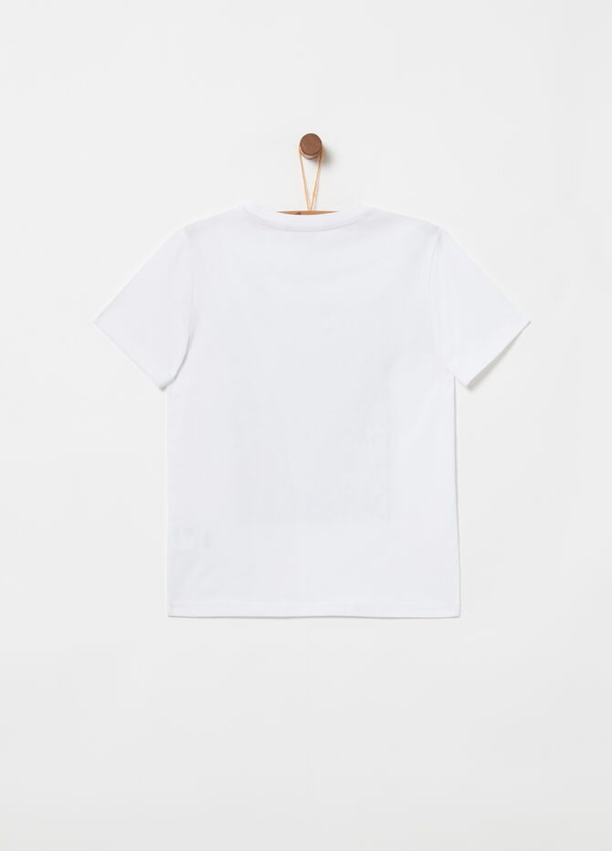 T-shirt jersey con costina e stampa