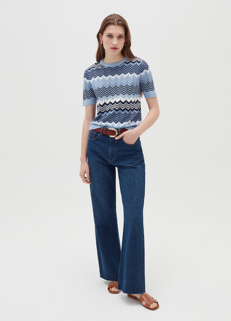 Knitted top with zigzag motif image number null