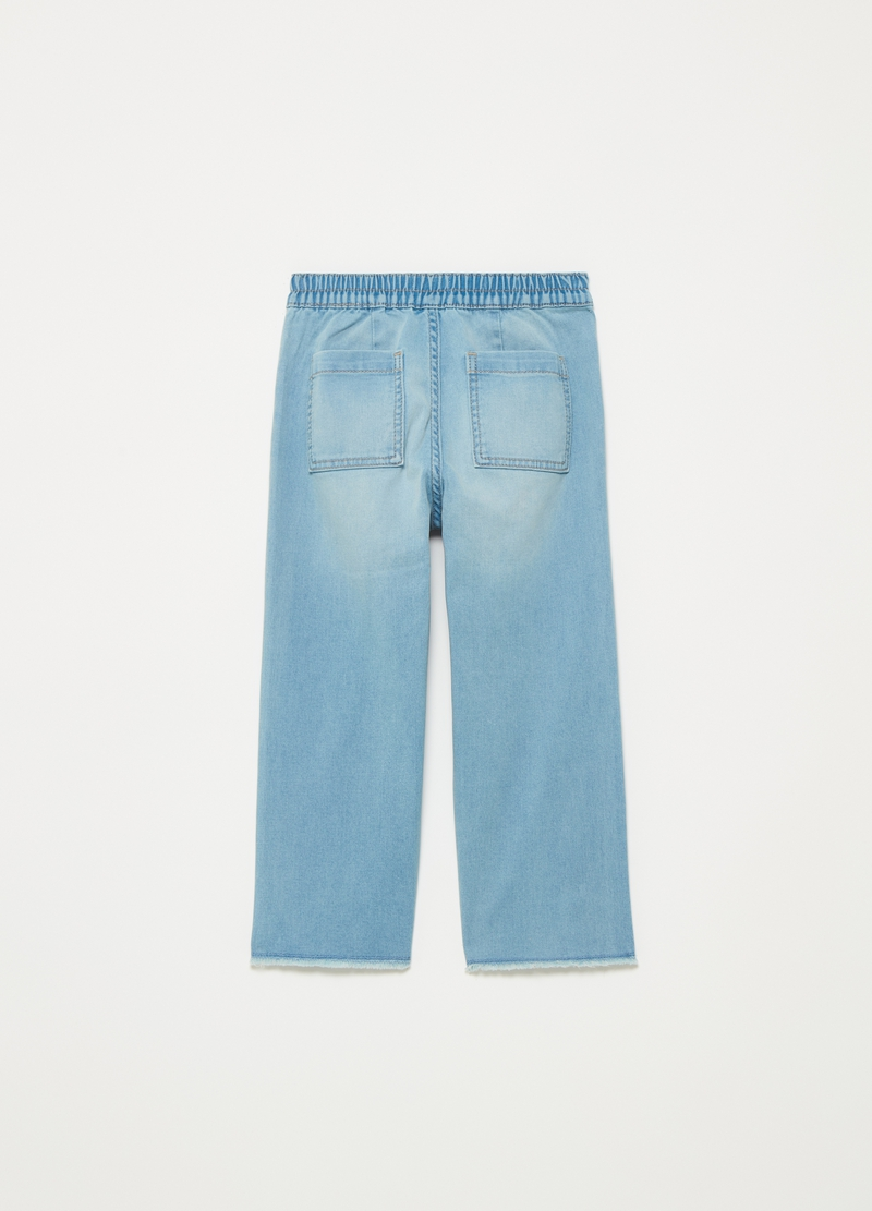 Wide-fit jeans with fringed hem image number null