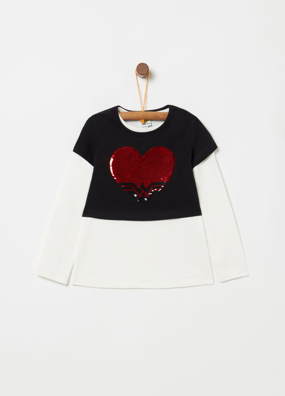 Stretch cotton T-shirt with heart sequins