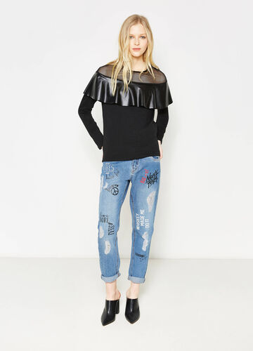 Sweatshirt in cotton with tulle and flounces