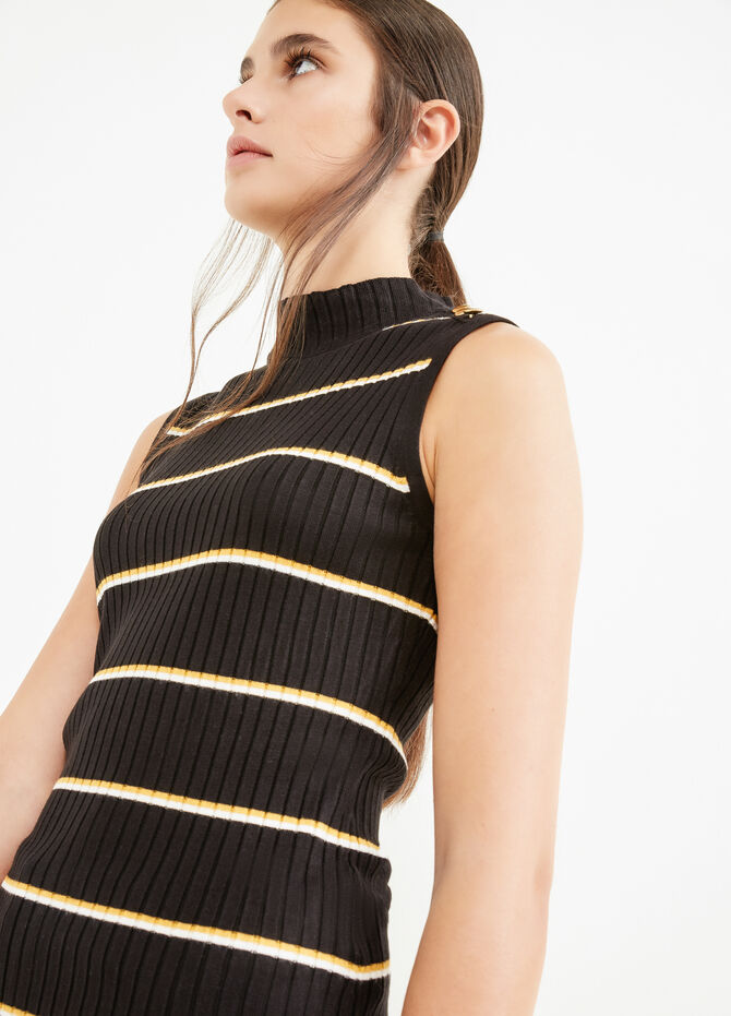 High-neck top with striped ribbing