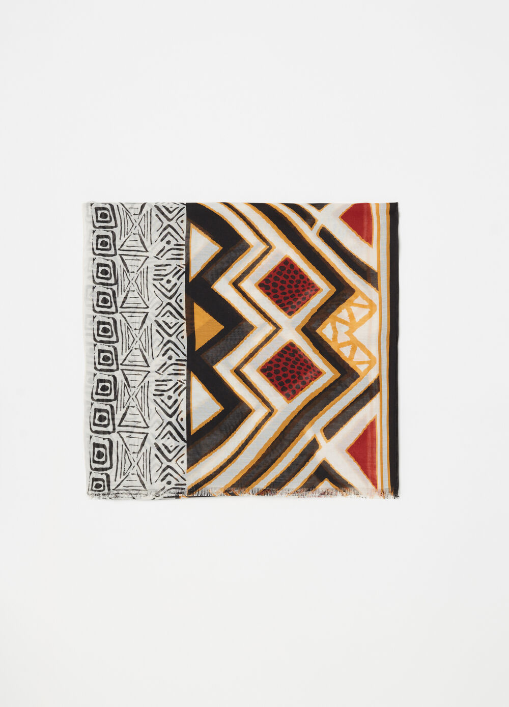 Scarf with ethnic motif pattern