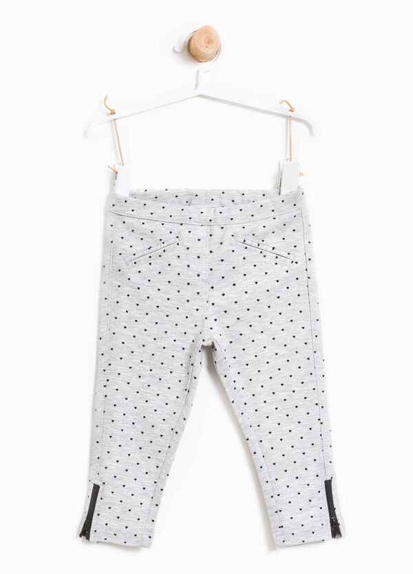 Stretch heart print trousers
