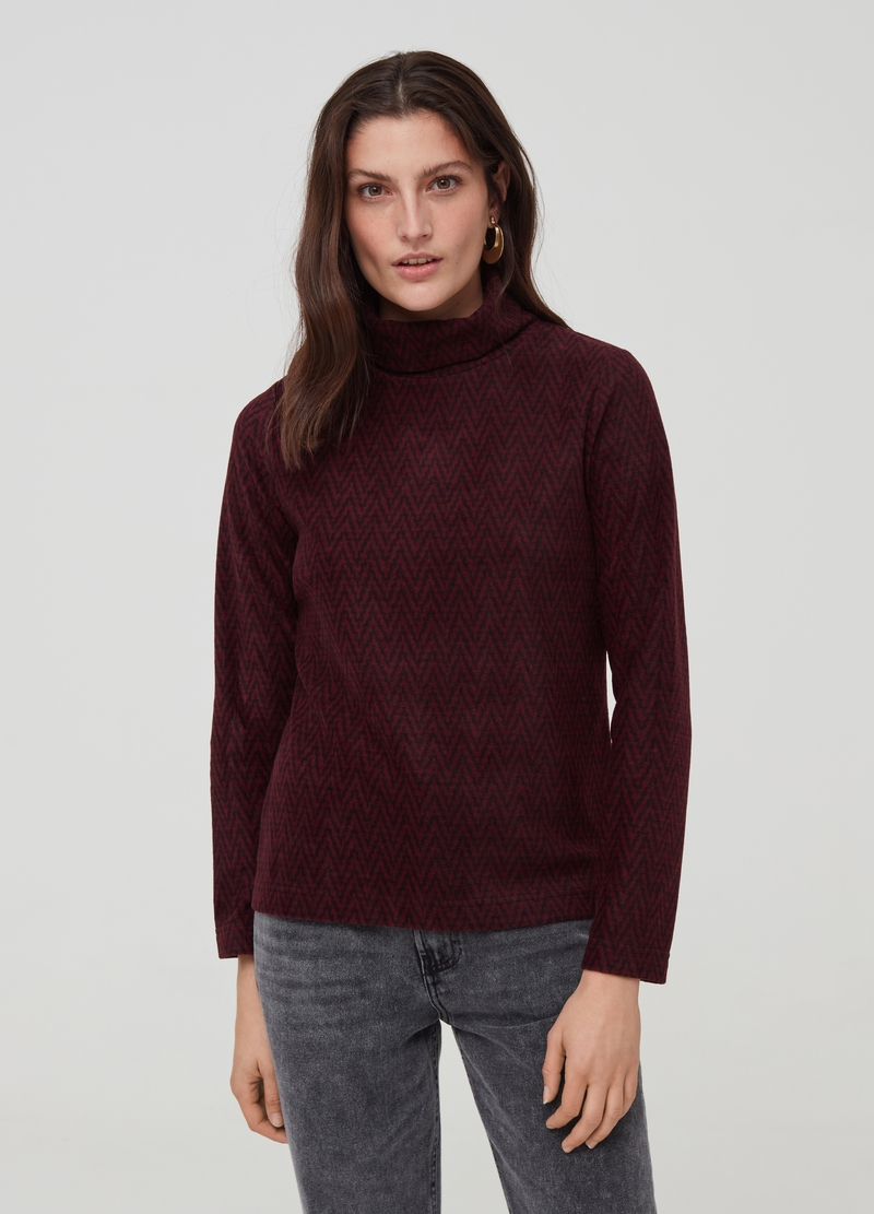 Fleece turtleneck jumper with geometric pattern image number null