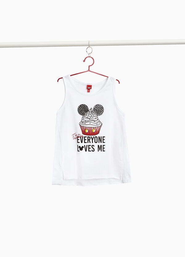 Cotton top with Mickey Mouse print