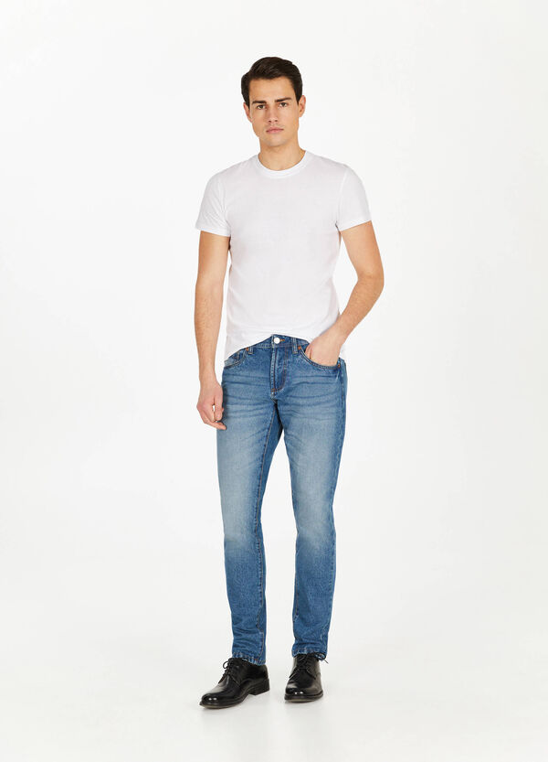 Jeans straight fit used con baffature