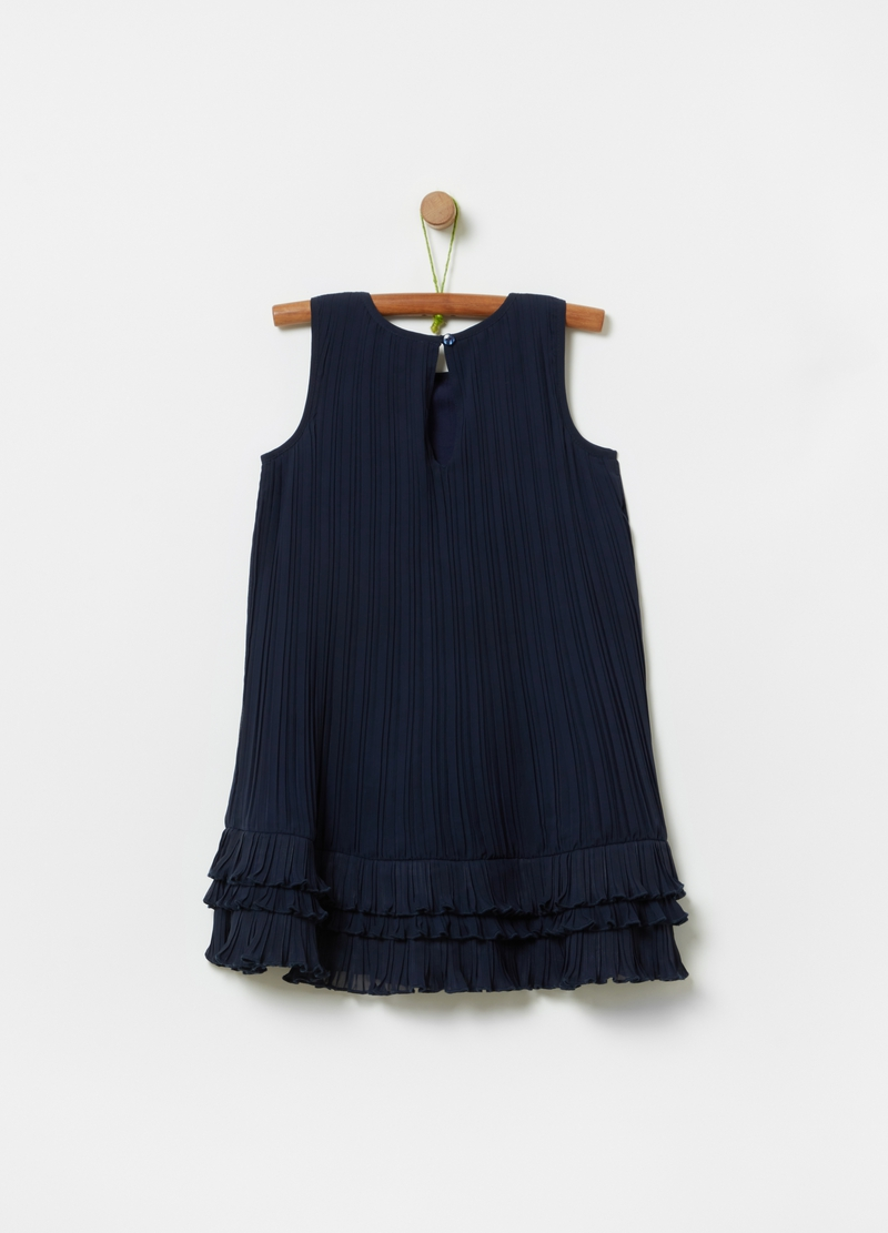 Solid colour pleated dress image number null