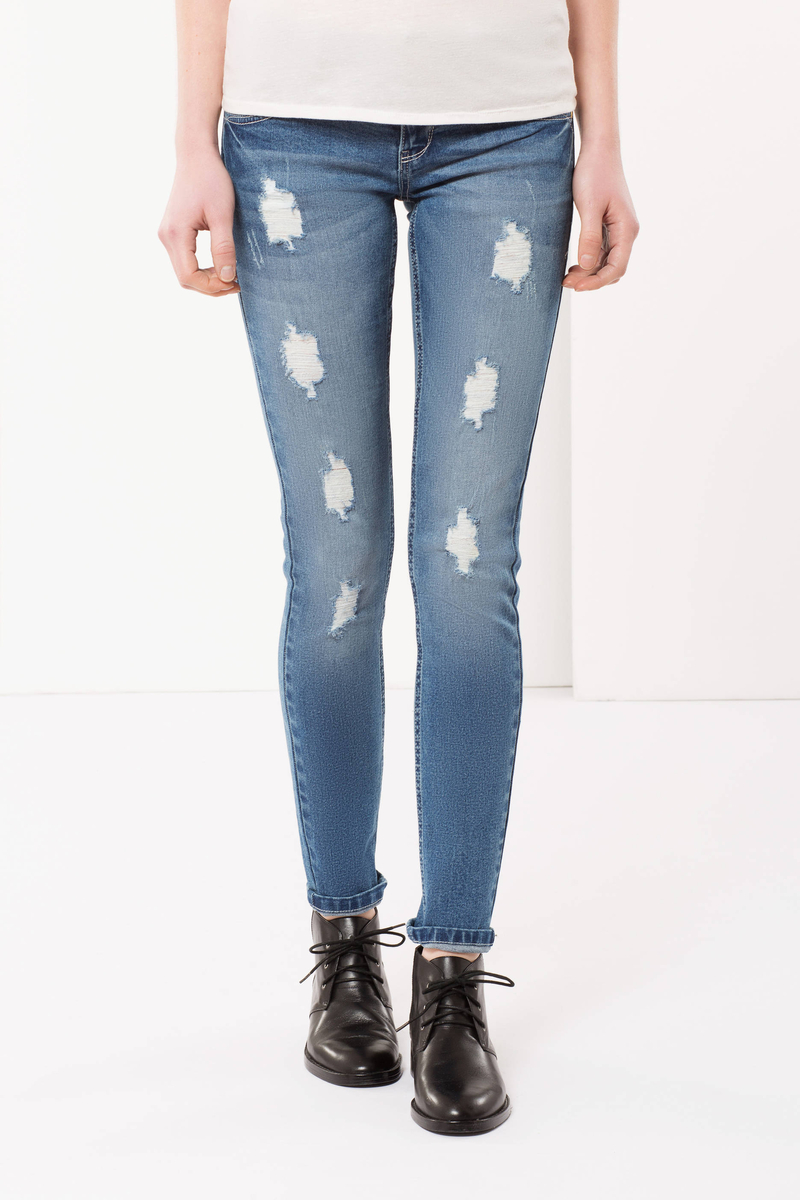 Ripped, skinny fit jeans image number null