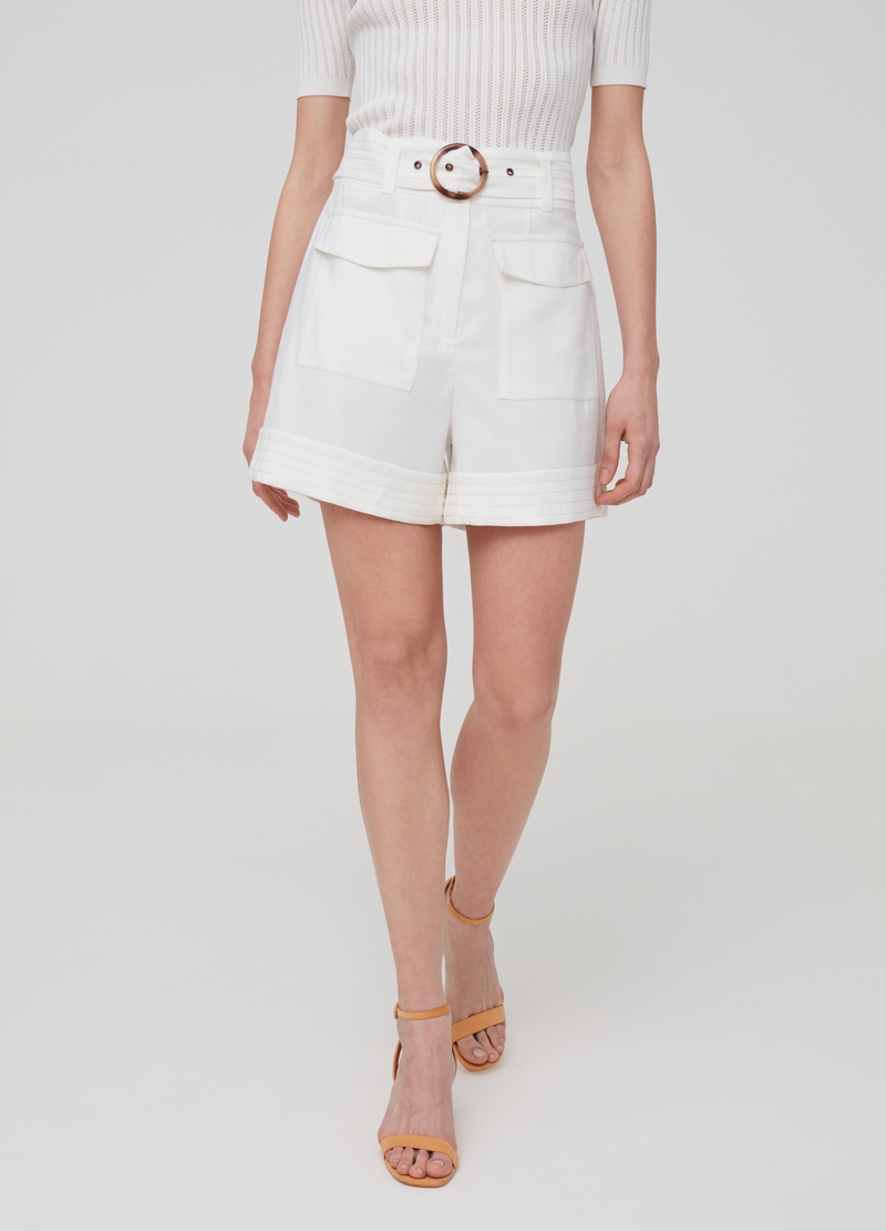 High-waisted shorts with belt image number null
