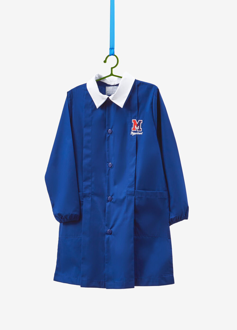 Cotton blend smock with embroidery and patch
