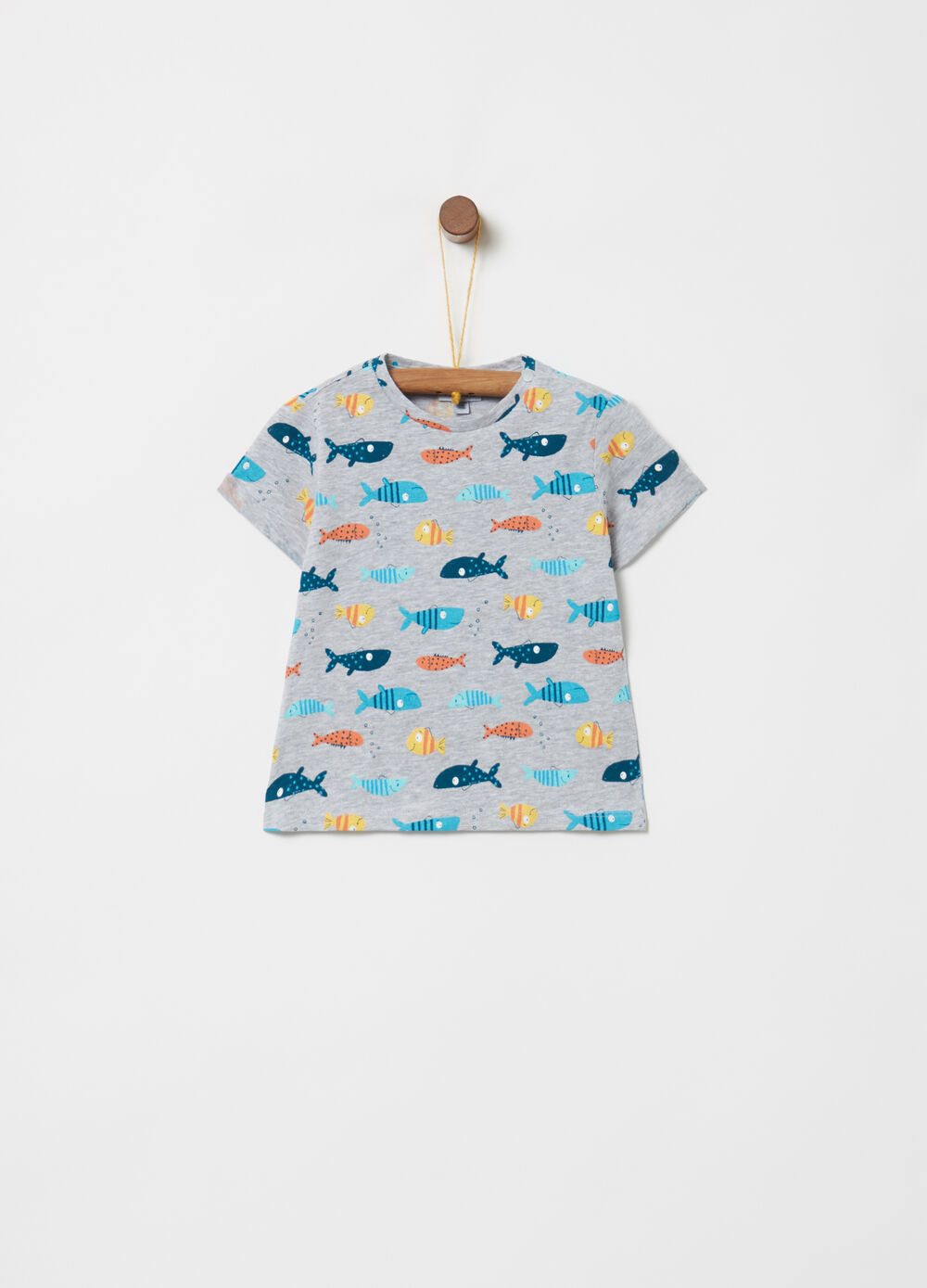 Ribbed T-shirt with fish pattern