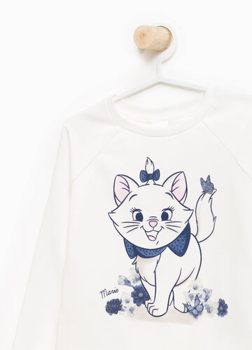 Sweatshirt in stretch cotton with Aristocats print