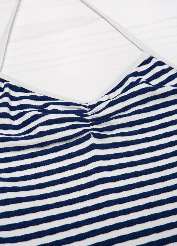 One-piece stretch swimsuit with striped pattern | OVS