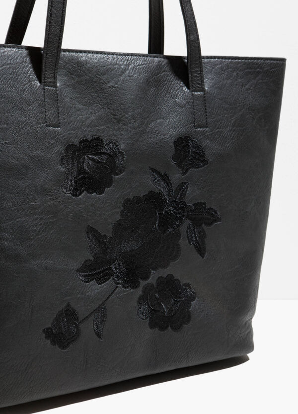Textured-effect shopping bag with embroidery | OVS