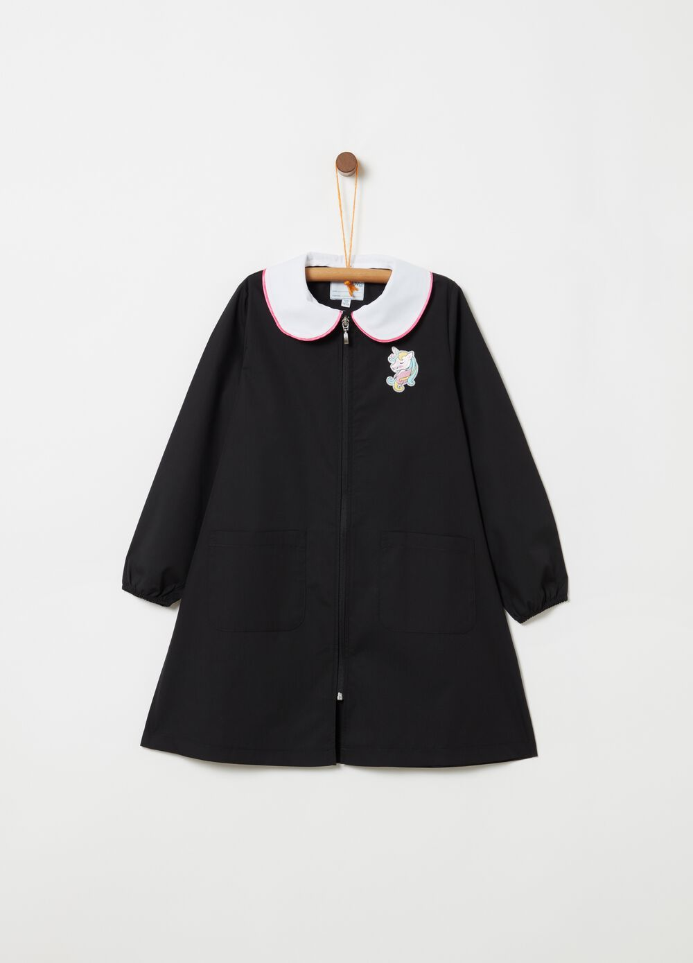 School smock with glittery embroidered unicorn