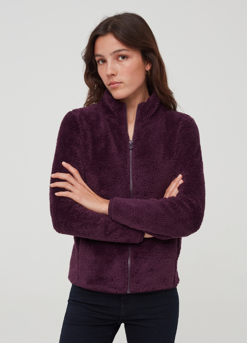 Fleece full-zip sweatshirt with high neck image number null