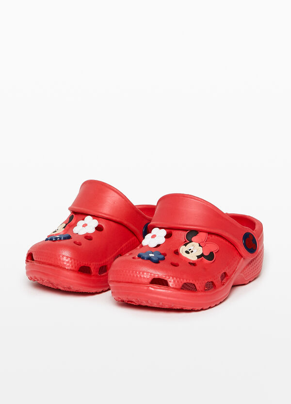 Openwork sandals with Minnie Mouse patch