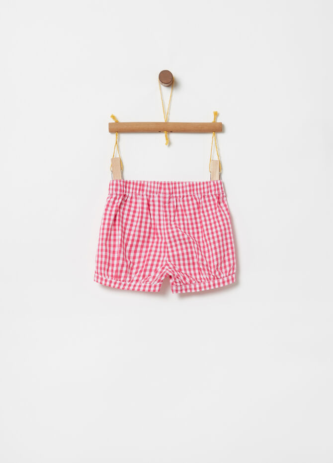 Shorts with buttons and Vichy pattern