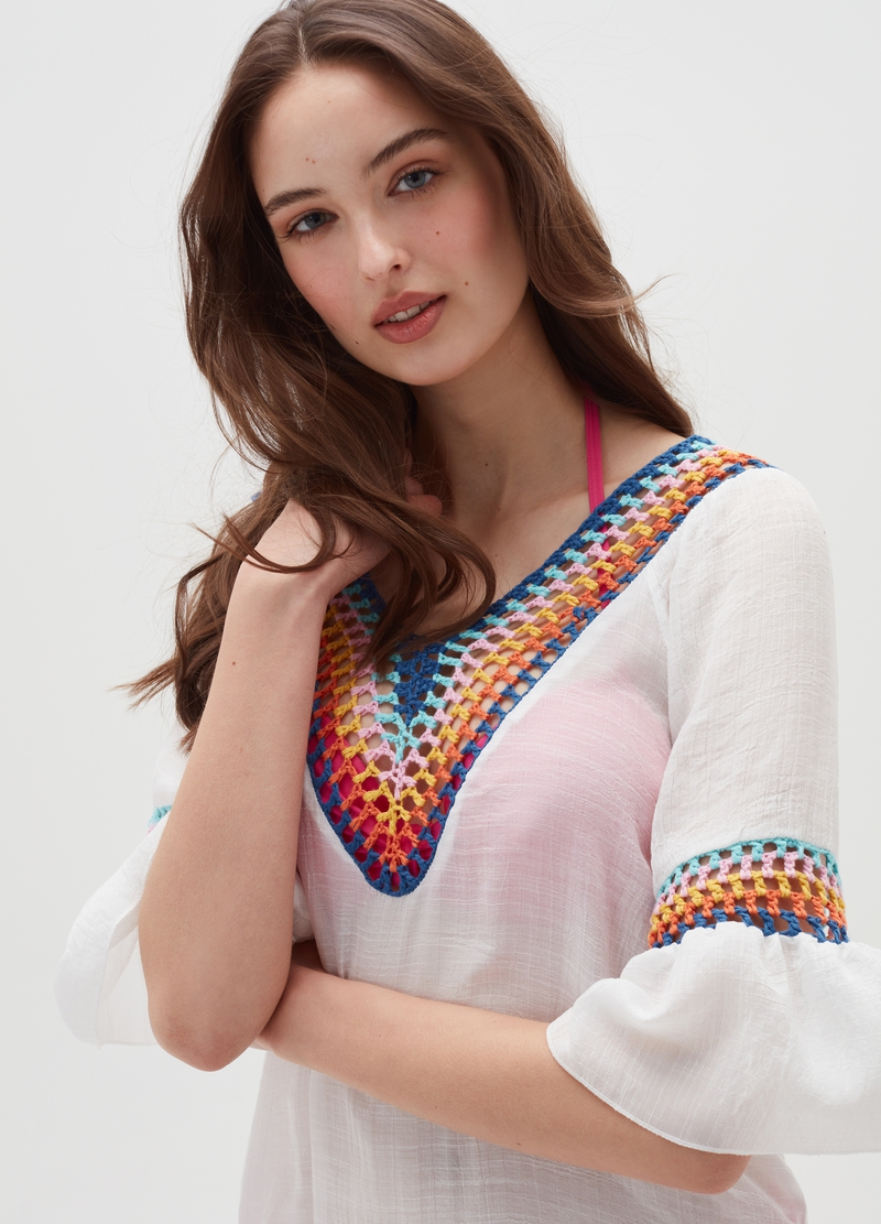 Beach cover-up with multi-coloured inserts image number null