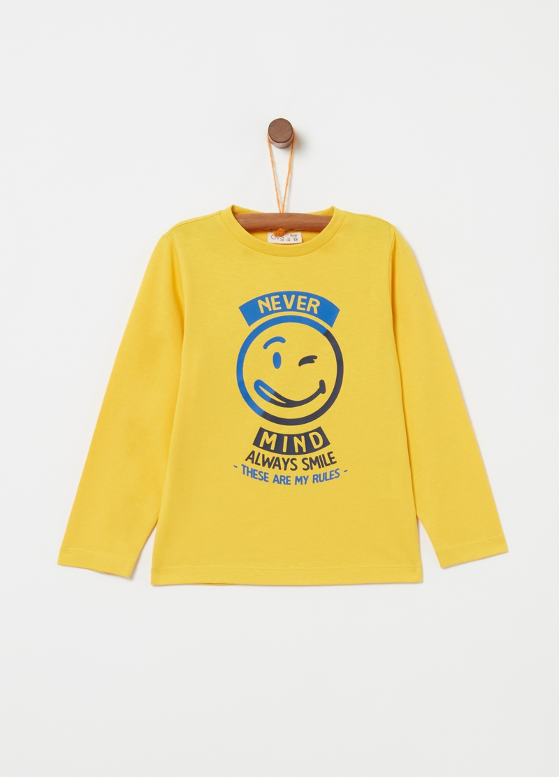 Cotton T-shirt with smile and lettering print image number null