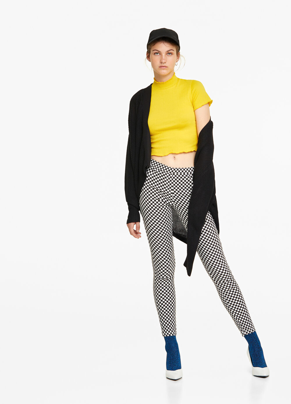Patterned stretch crop jeggings