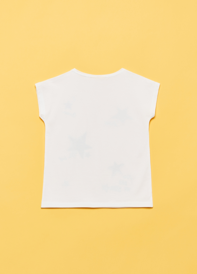 T-shirt with star print, glitter and diamantés image number null