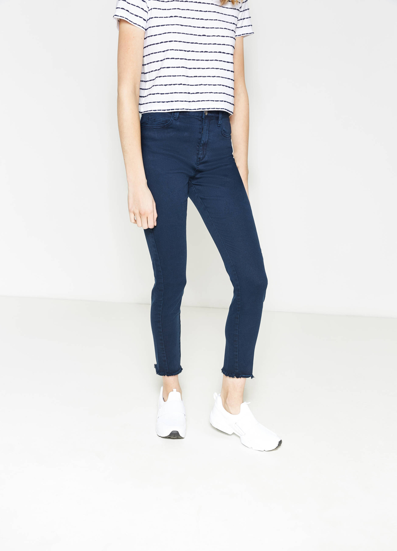 Stretch cotton trousers with fringed hem image number null