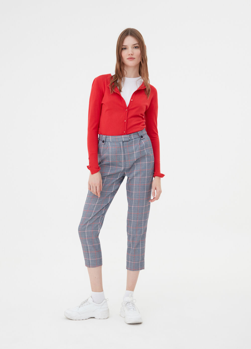 Cropped check carrot-fit trousers