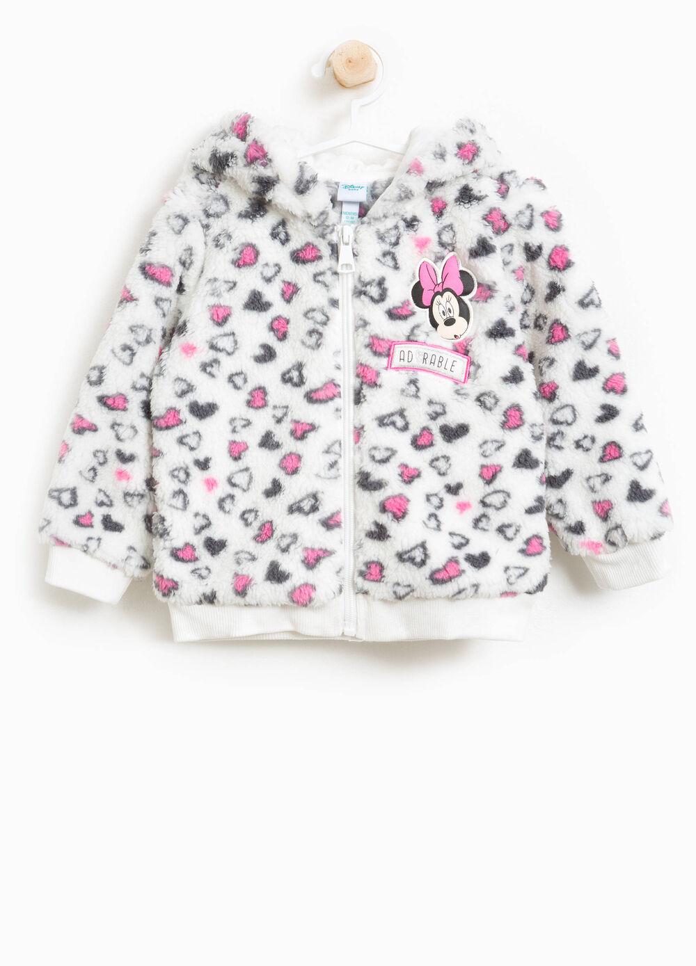 Faux fur sweatshirt with Minnie Mouse and hearts