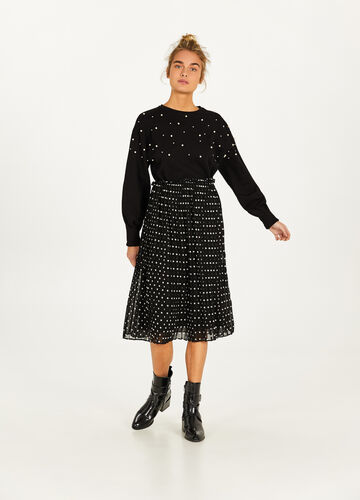 Pleated polka dot longuette skirt
