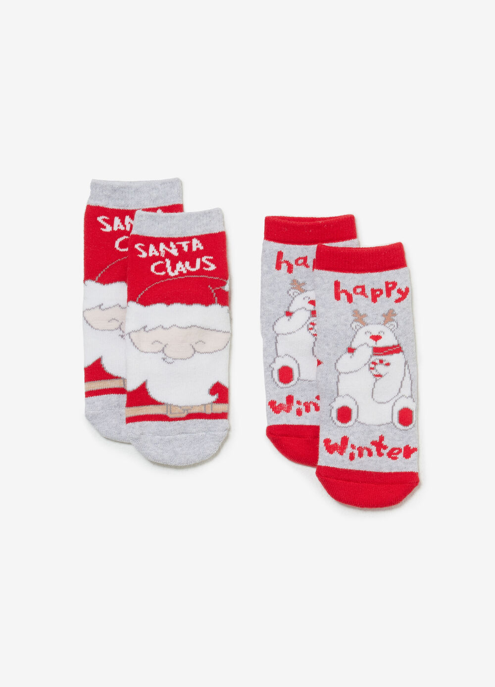 Two-pair pack socks with Christmas print