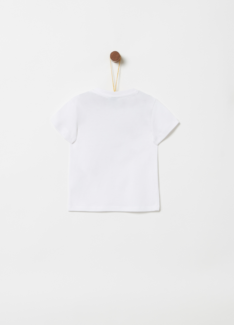 100% cotton T-shirt with button and print image number null
