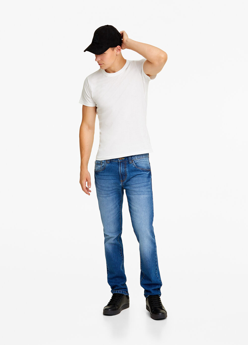 Jeans straight fit stone-washed