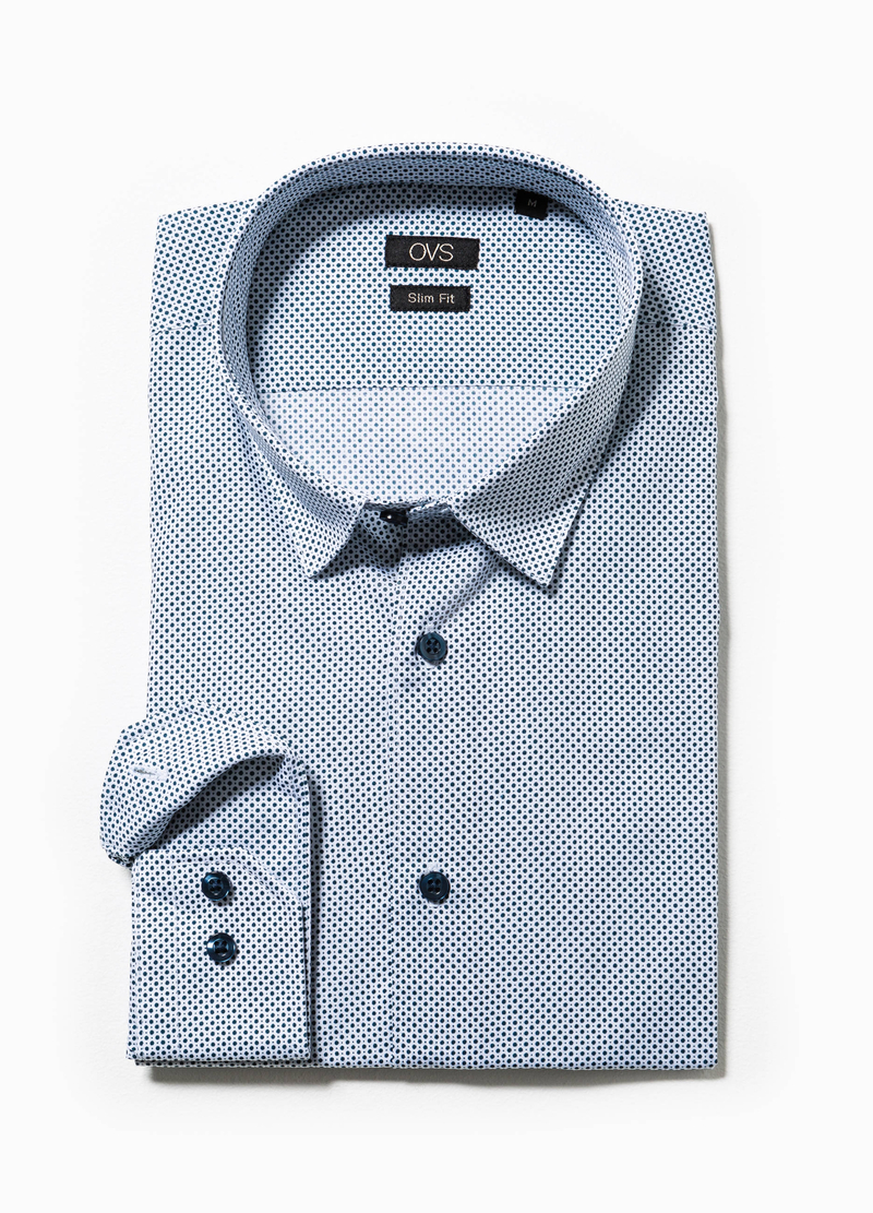 Camicia casual slim fit fantasia a pois image number null