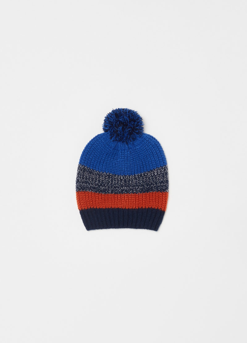 Colourblock hat with pompom image number null