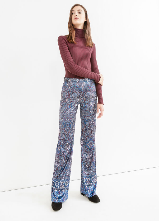High waist trousers with paisley print