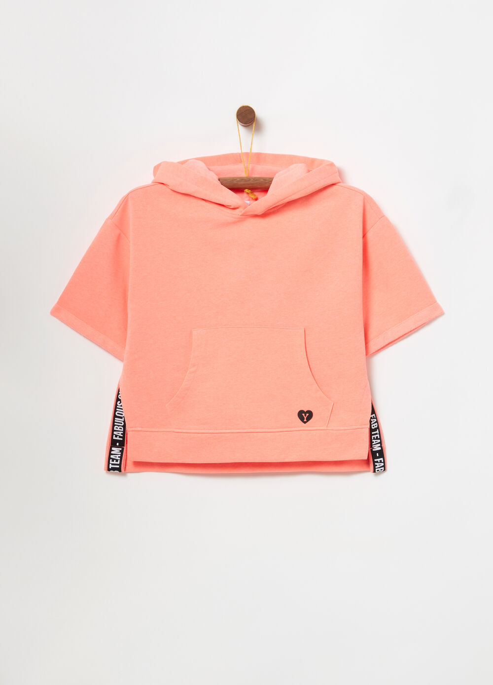 Hoodie with short sleeves